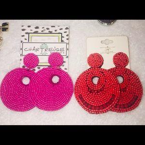 Hot pink earrings Brand new